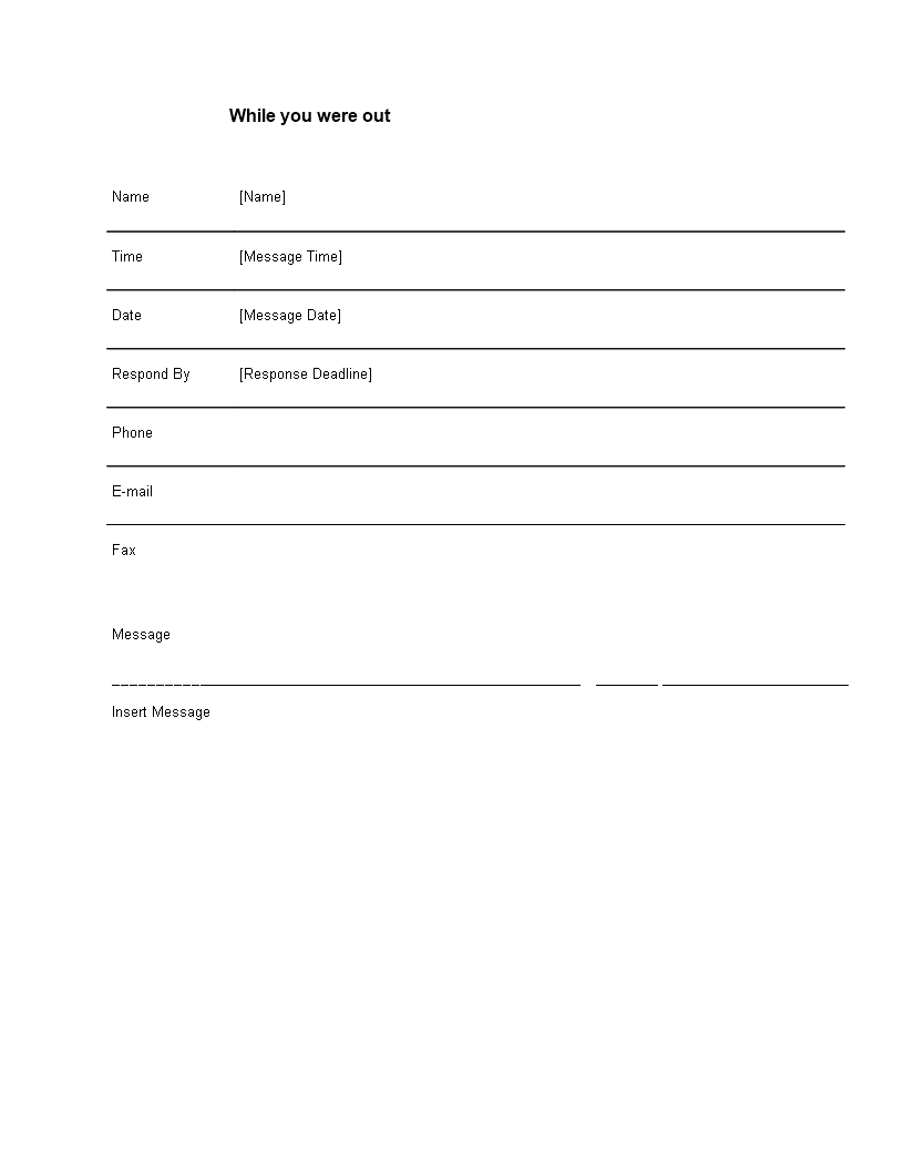 Phone Message Template Word - Download this Telephone message Word ...