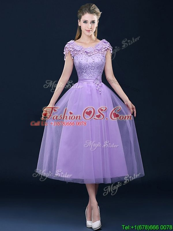 Exclusive A Line Tulle Lavender Dama Dress in Tea Length | Evening ...