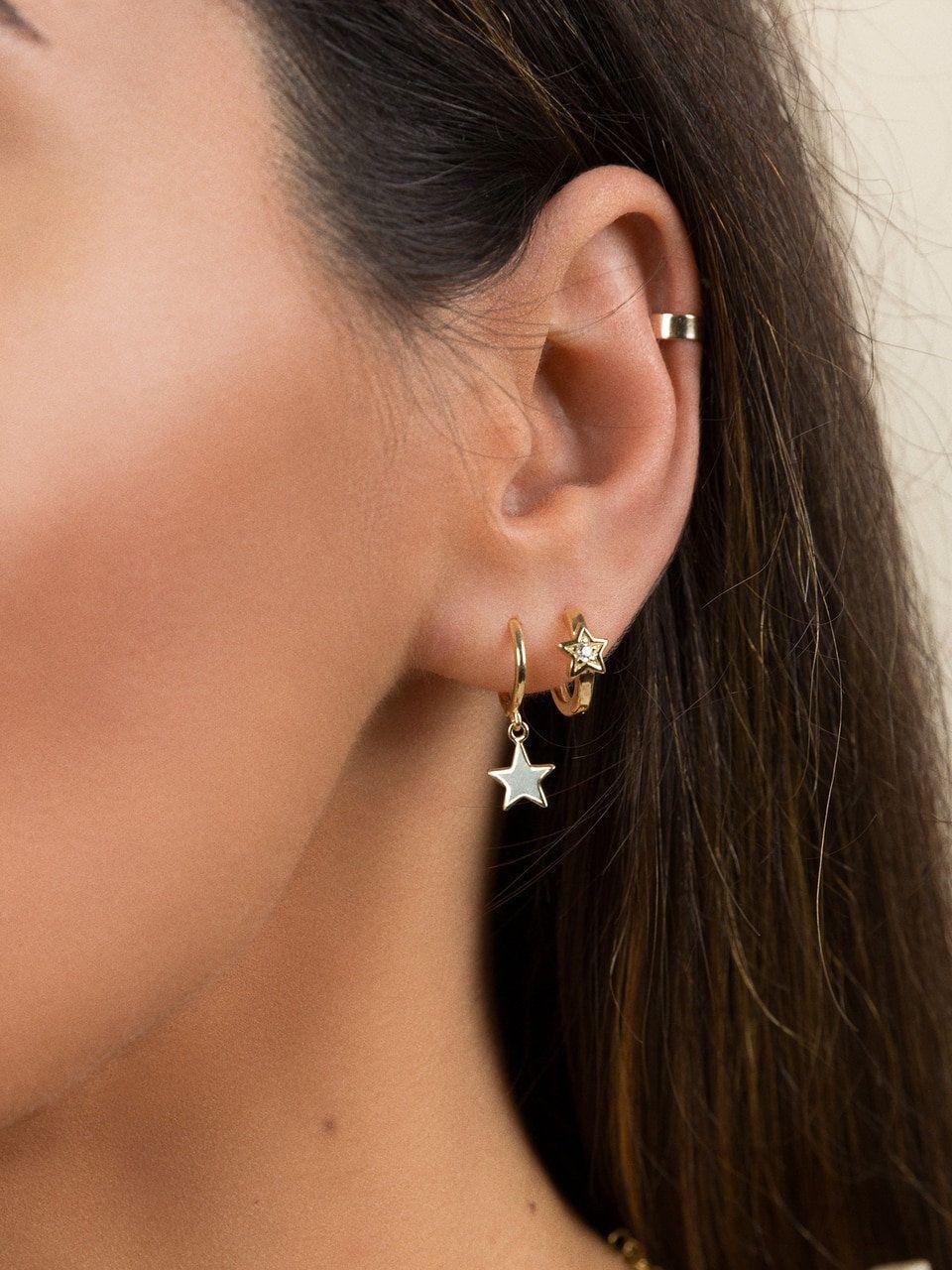 18K Gold Filled Earrings Ruby zircon étoiles Bright Gemstone Ear Stud Goutte Mariage