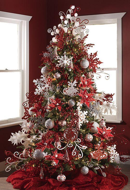 Pin de silvia c en navidad navidad rboles de navidad decorados y decoracion navidad - Arbol navideno blanco decorado ...