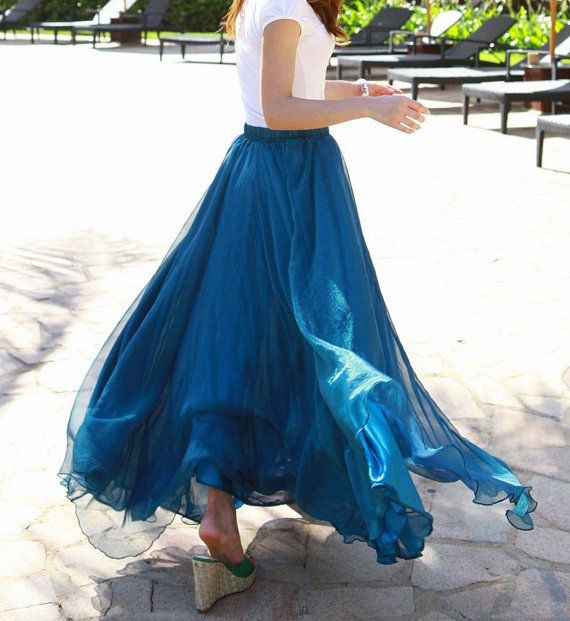 85cd86215ed Peacock blue Chiffon skirt Maxi Skirt Long Skirt Maxi Dress Silk chiffon  dress Women Silk Skirt Beach Skirt plus size dress Pleat skirt
