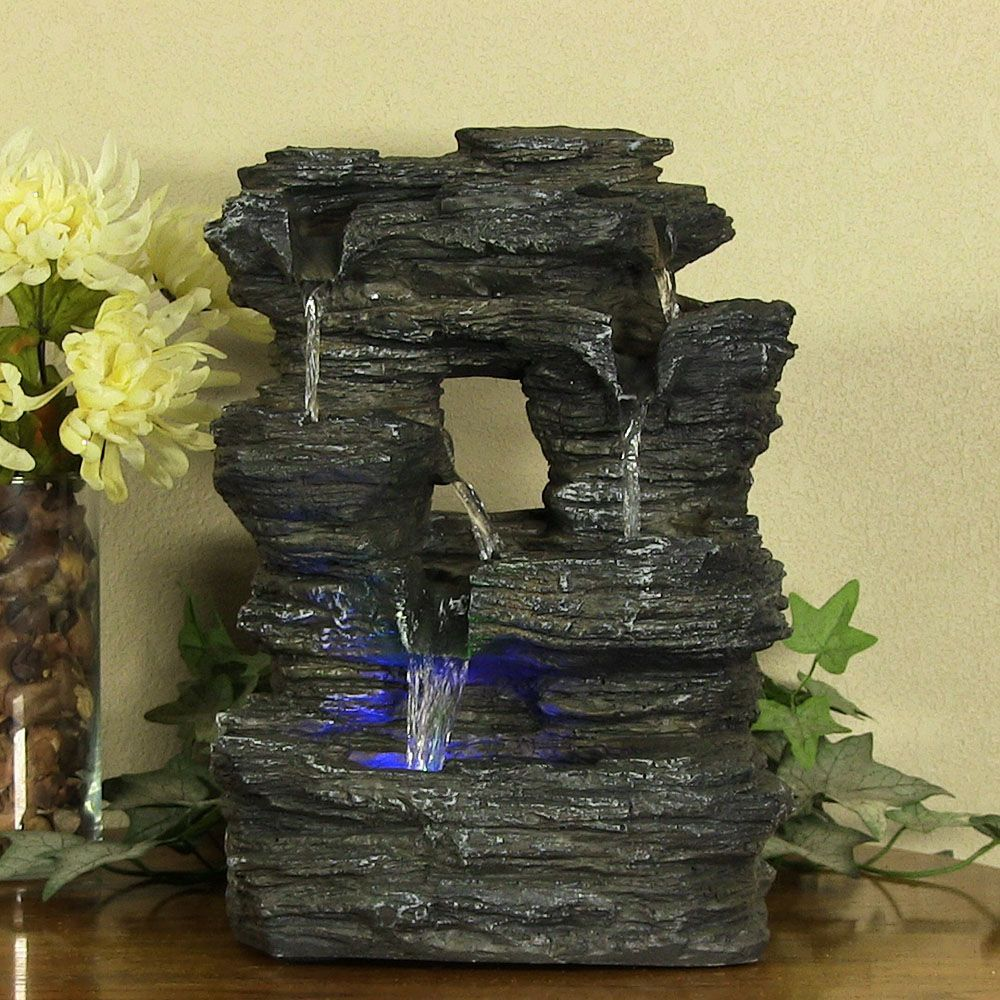 Bon Indoor Home Decor Tabletop Falls Rock Water Fountain For Desktop With Led 5  Stream Tier Fountain