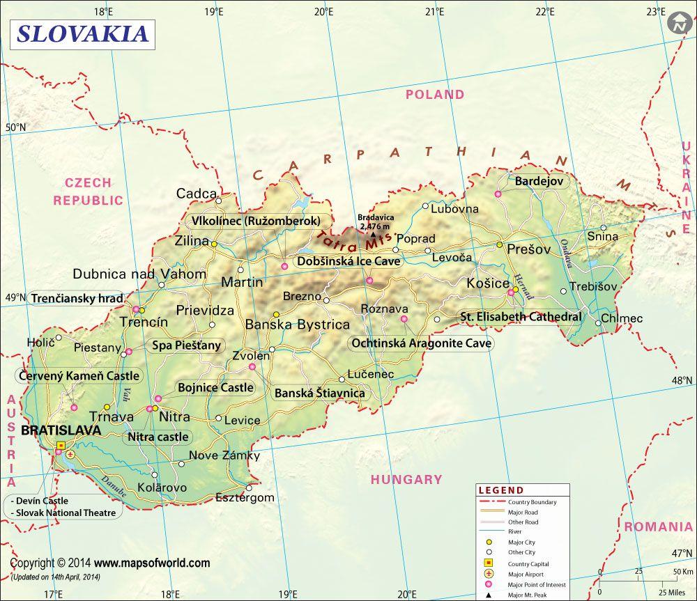 Slovakia Map Slovak Republic Pinterest Medieval town Czech