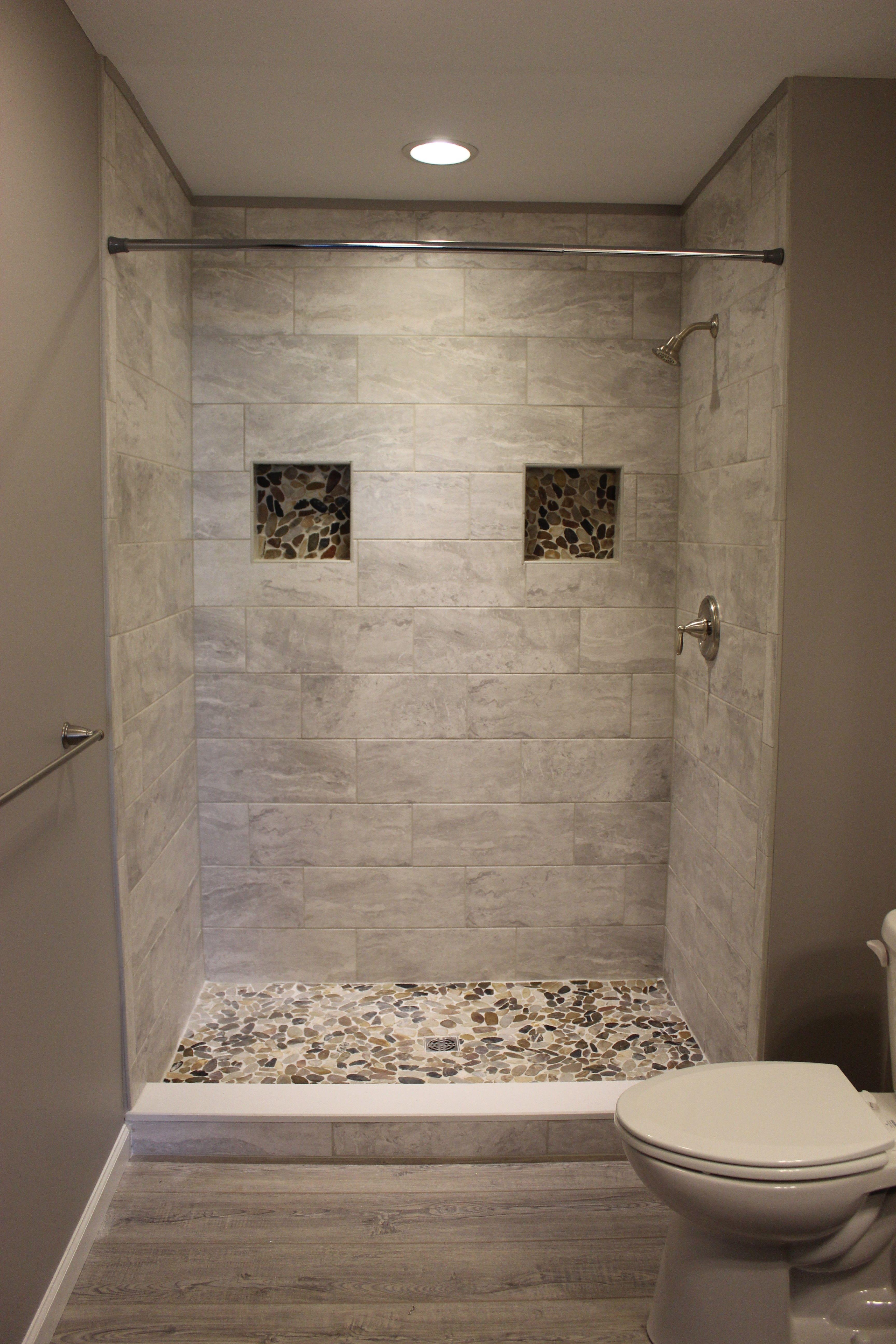 Tiled Shower Small Bathroom Restroom Remodel Shower Tile