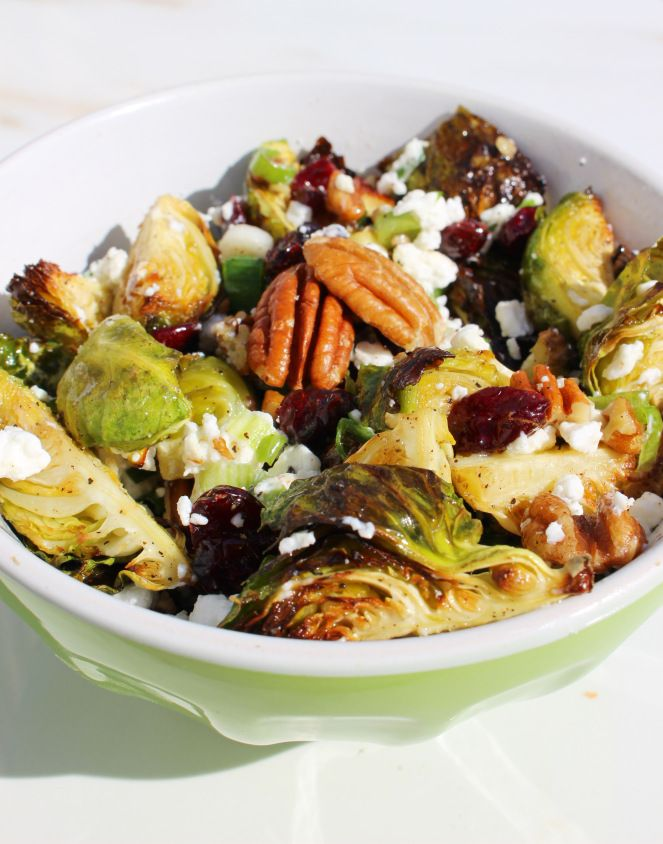 INGREDIENTS 1 pound Brussels Sprouts, de-stemmed and quartered ½ cup Craisins 1/3 cup Goat Cheese, crumbled 1/3 cup Pecans 1 tablespoon Agave Nectar 2 tablespoons Olive oil 2 Green Onions Salt & Pepper