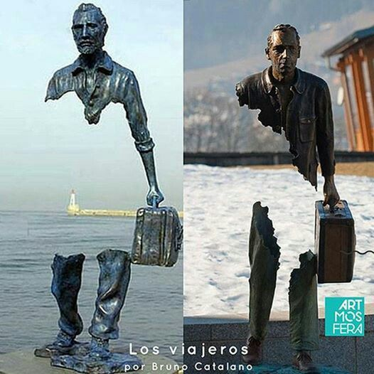 El trabajo del artista se caracteriza por crear estatuas incompletas que sostienen sólo una maleta, razón por la cual el escultor tituló a su colección Los Viajeros.  // The artist's work is characterized to create incomplete statues that hold only a suitcase , why sculptor named his collection the travelers #artaroundtheworld #arteenelmundo #escultura
