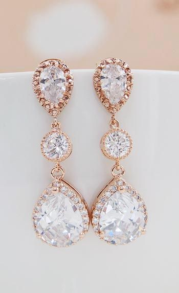 Luxury Rose Gold Plated Halo Style Cubic Zirconia Bridal Earrings From Earringsnation Weddings