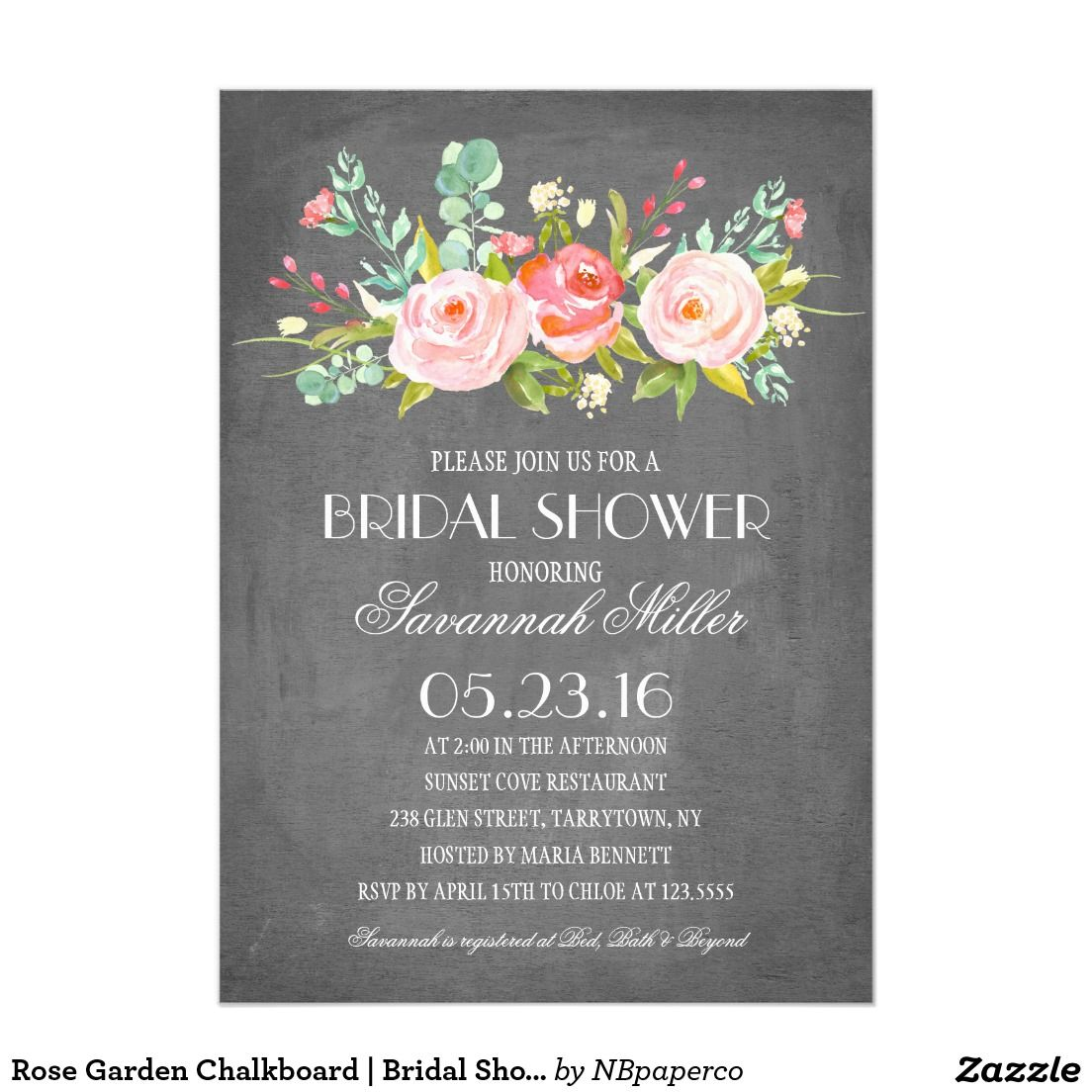 Rose Garden Chalkboard | Bridal Shower Invitation | Pinterest ...