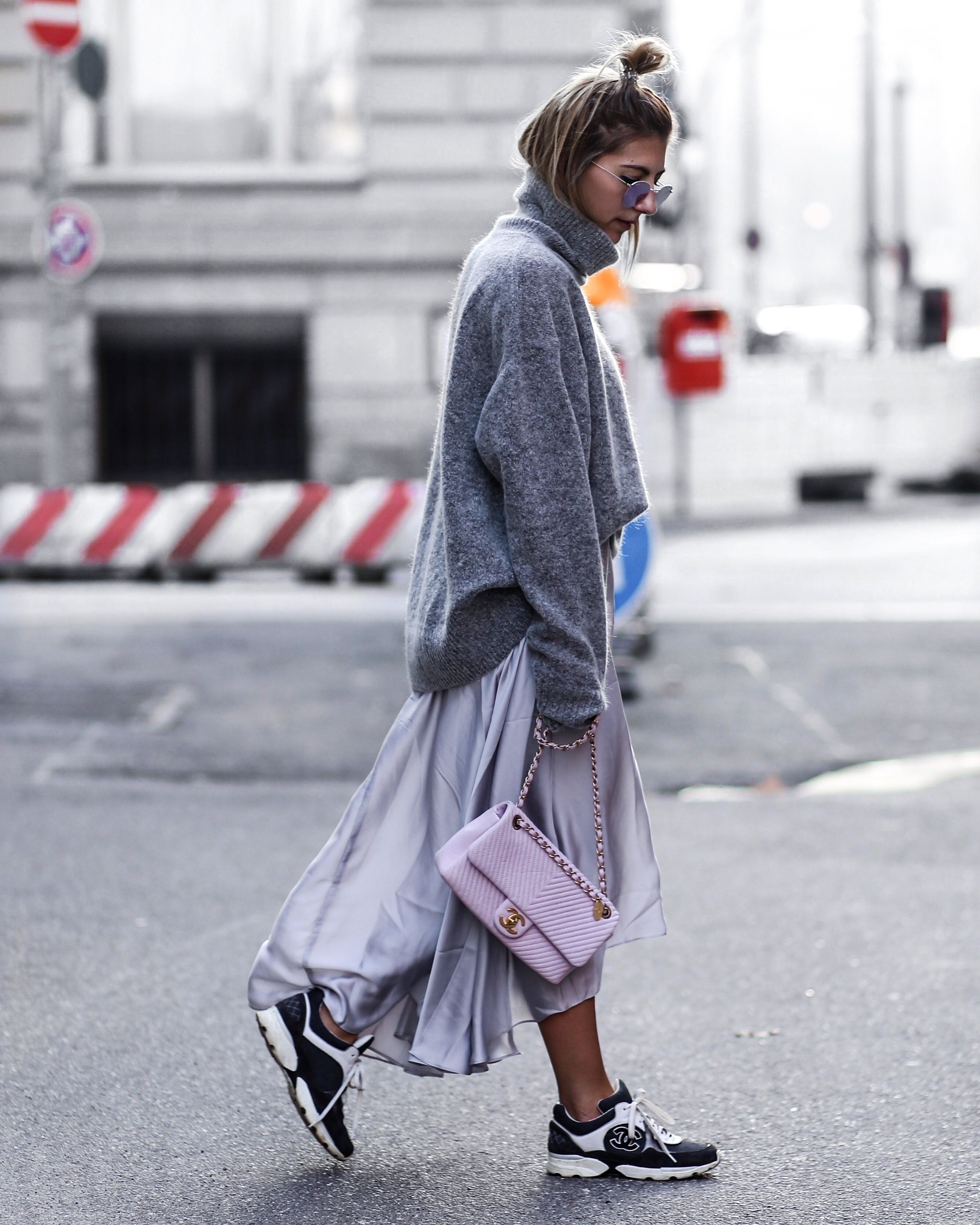 2a8acab5590c love this street style. Chanel Sneaker with silk skirt and soft pink Chanel  bag