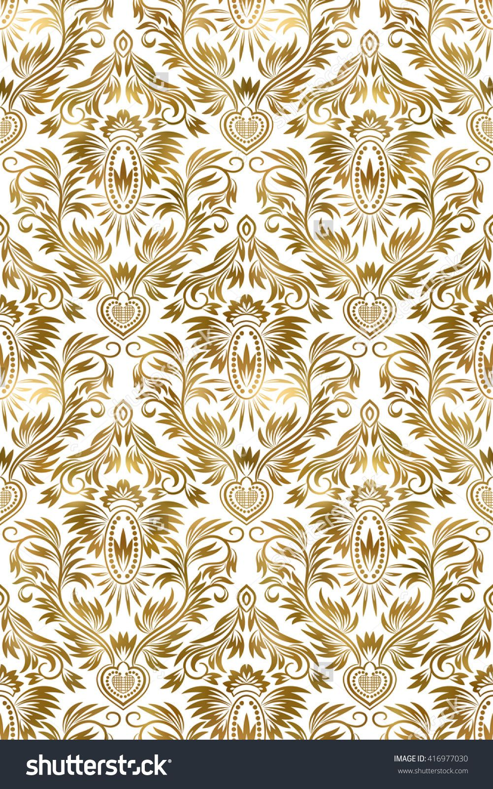 Golden White Vintage Seamless Pattern Gold Royal Classic Baroque Wallpaper