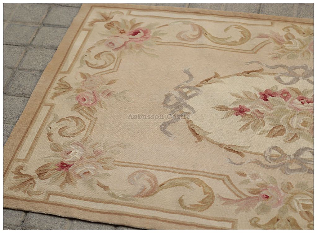 3x5 Aubusson Area Rug Antique French Pastel Wool Handmade Flat Weave Carpet Flat Weave Carpet Aubusson Rugs Rugs