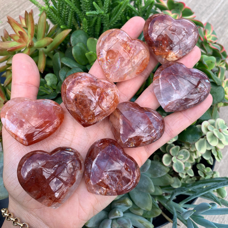 Anxiety Relief Sensory Stone Heart Love Palm Stone Hematoid Quartz Crystal Heart Shaped Crystal Fire Quartz Heart Worry Stones