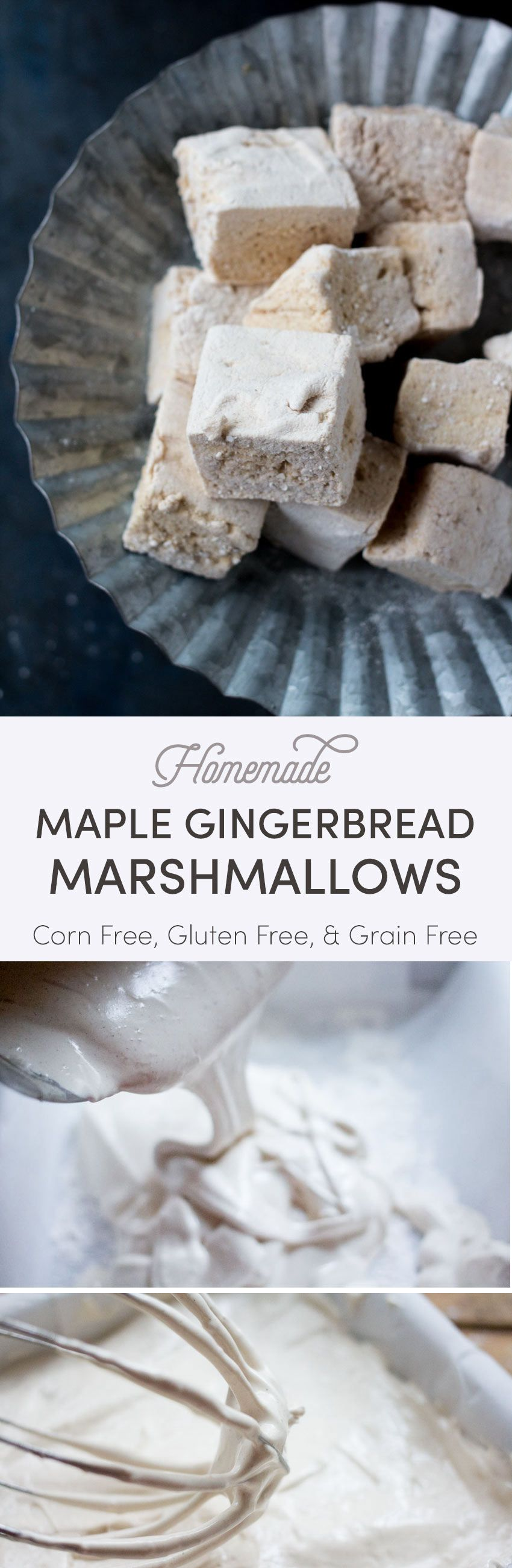 These gingerbread spice marshmallows are sweetened with pure maple syrup instead of corn syrup. Fluffy and pillowy, these homemade marshmallows are a real treat on their own, in a gluten free s'more, or on top of your hot chocolate! #marshmallows