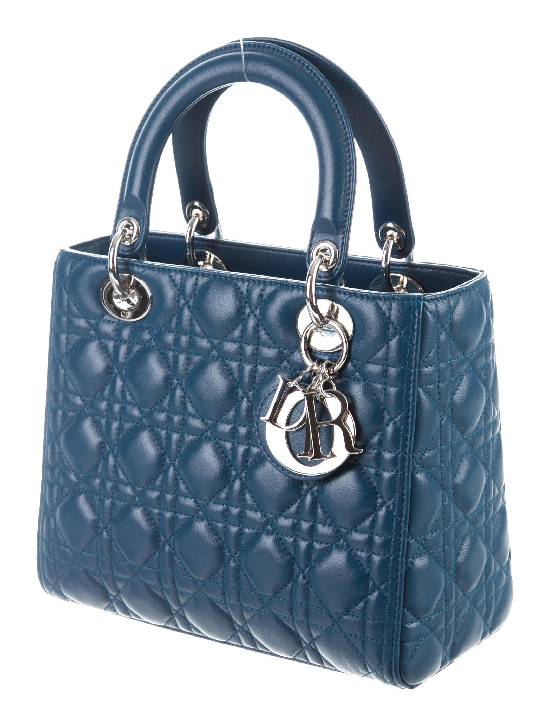 From the Spring Summer 2016 Collection. Blue Cannage lambskin leather  Christian Dior medium Lady Dior bag with silver-tone hardware a8d7c2698bb34