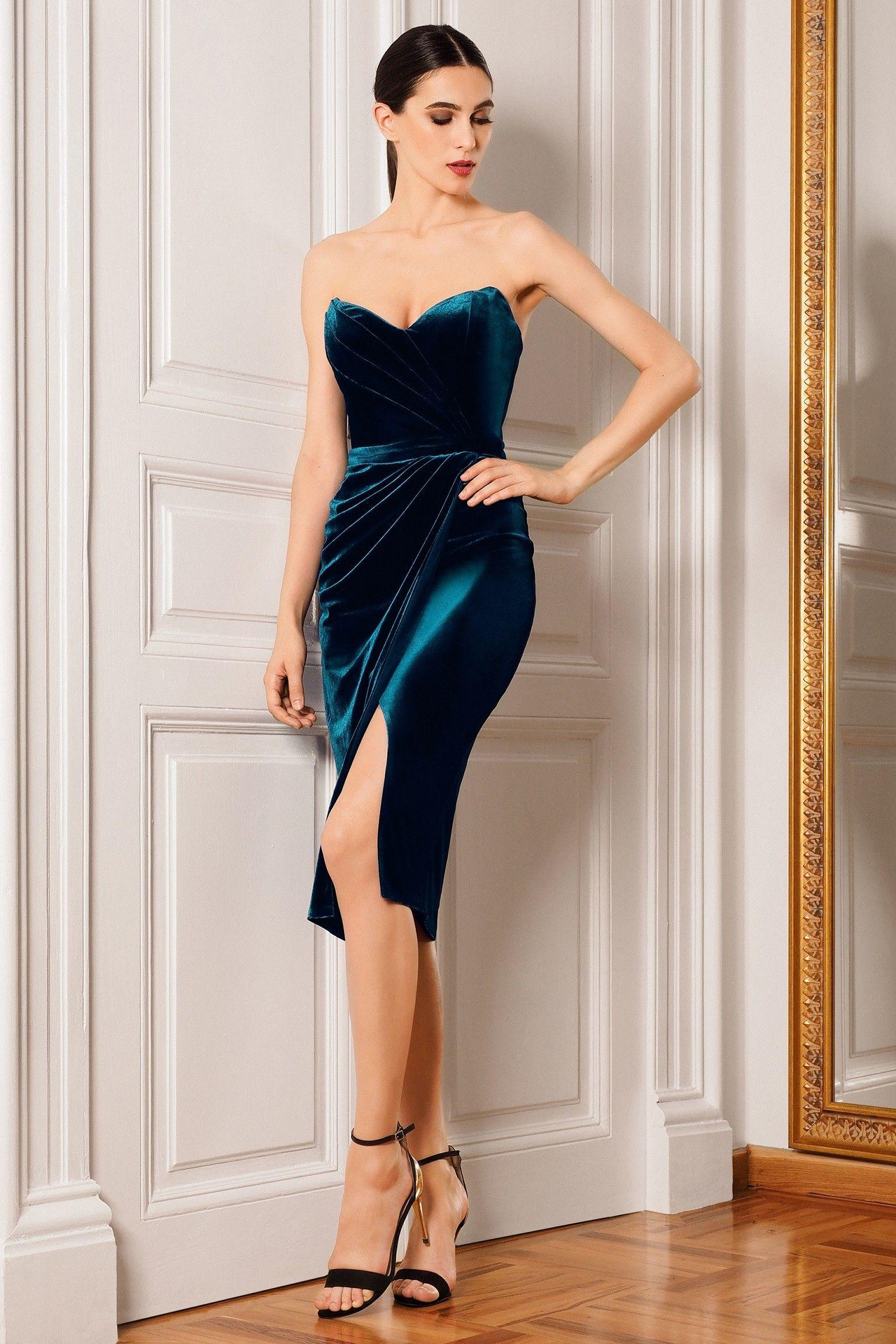 Rochie de cocktail din catifea cu slit frontal SKA462 - Rochie de ...