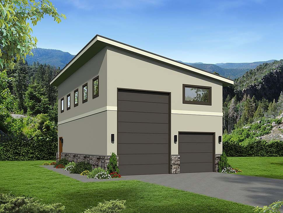 Traditional Style 2 Car Garage Plan Number 51674 , RV