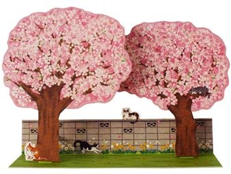 Lovely Cherry Blossom Trees W Cats Pop Up Decorative Greeting Card Premium Greeting Cards Gift Pop Up Greeting Cards Cherry Blossom Tree Mother S Day Greeting Cards