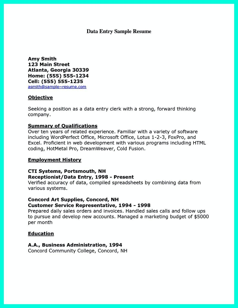 Perfect Data Entry Resume Samples To Get Hired Data Entry Clerk Resume Data Entry