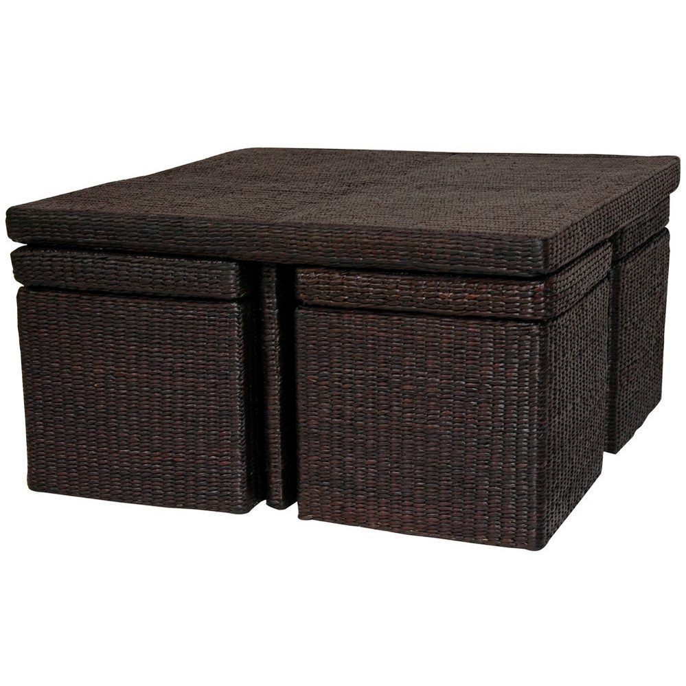 Rush Grass Coffee Table With Four Stools   OrientalFurniture.com