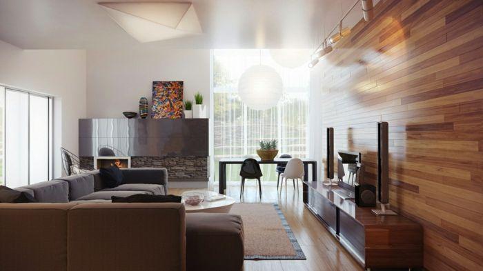 wohnideen wohnzimmer wandgestaltung ideen holzoptik feuerstelle ...