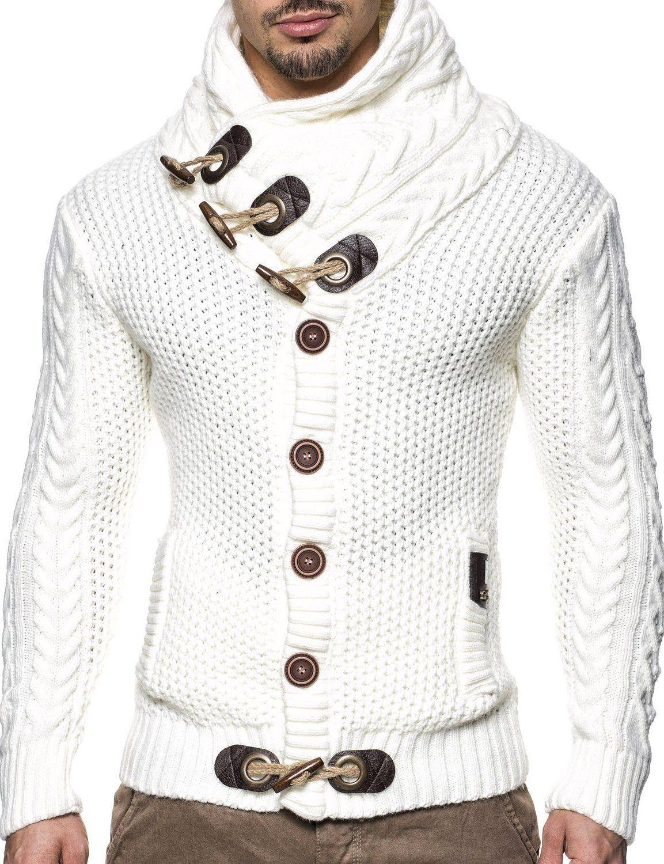 LEIF NELSON Men's Knitted Jacket Cardigan 4195: Amazon.co.uk ...