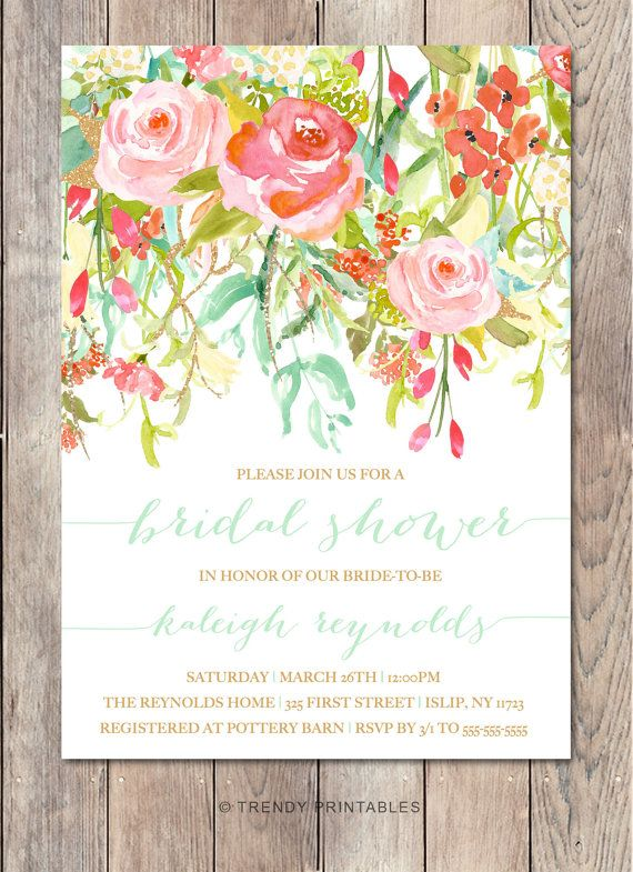 Bridal Shower Invitation, Bridal Shower Invite, Floral Bridal Shower Invitation, Printable Bridal Shower Invitation, Bridal Shower [391]