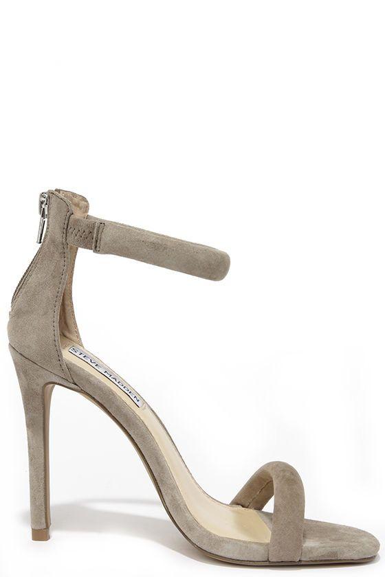9ec2d0d318e49 Steve Madden Fancci Taupe Suede Ankle Strap Heels | shoes | Fashion ...