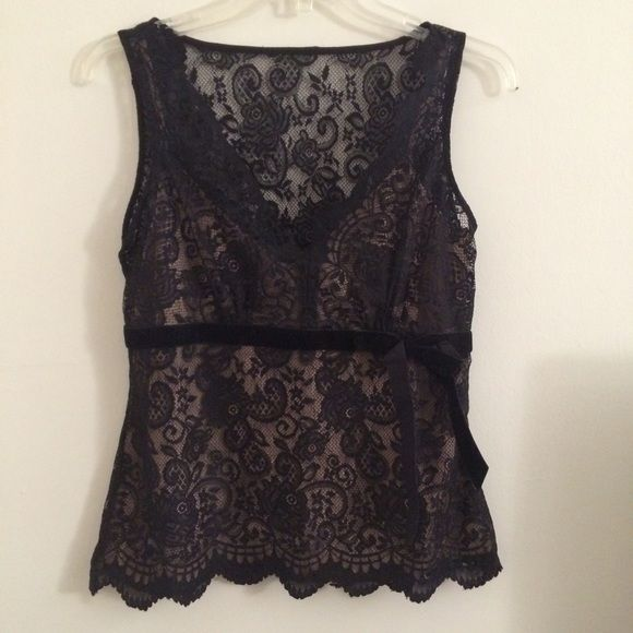 Lace shirt Black lace shirt with nude underlay. Beautiful top just not my style! New with tags. Size 6 petite  No PayPal. No trades. LOFT Tops