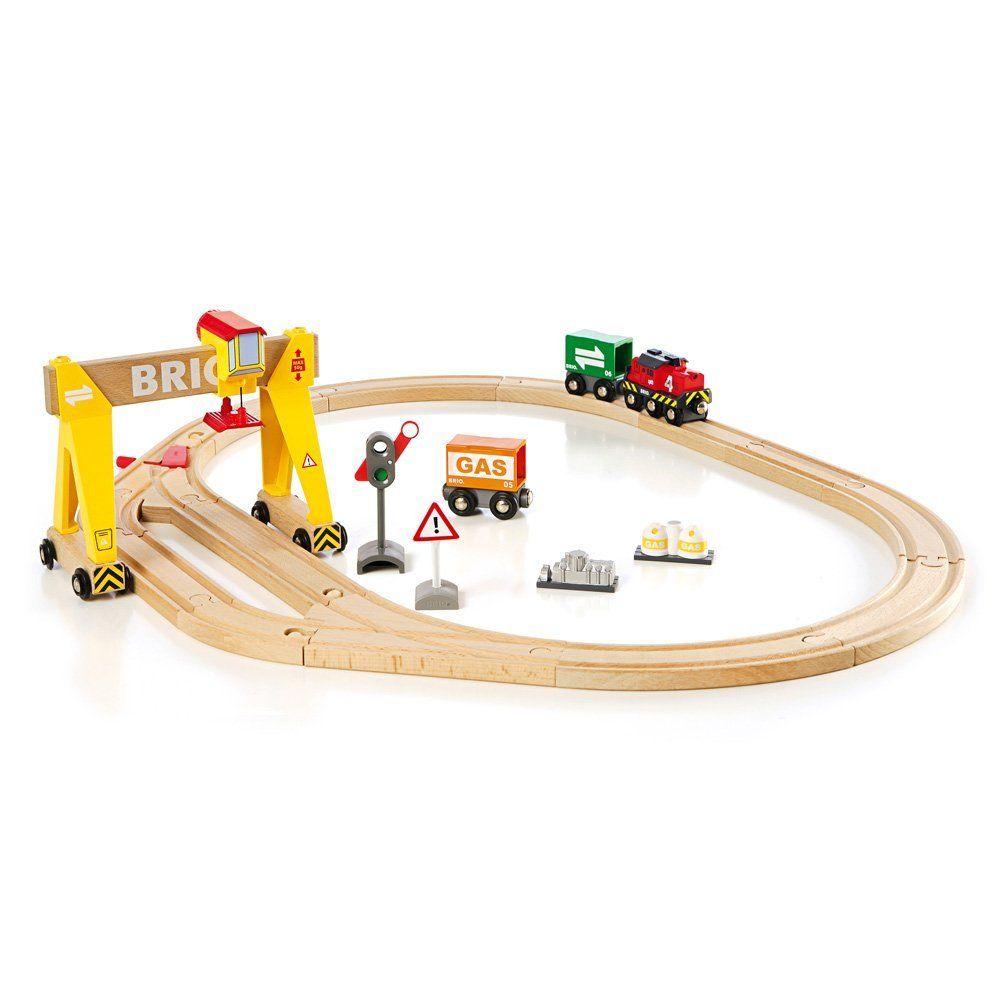 Amazoncom Brio Wooden Crane Train Set Toys Games