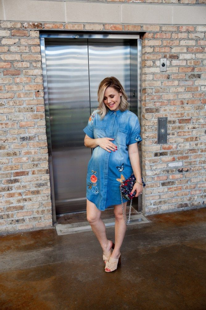 3440ade3df70a Floral Embroidered Shirtdress   Lord & Taylor Dress   Denim Dress   Spring  outfit   Floral Dress   Maternity Fashion   Uptown with Elly Brown #ad