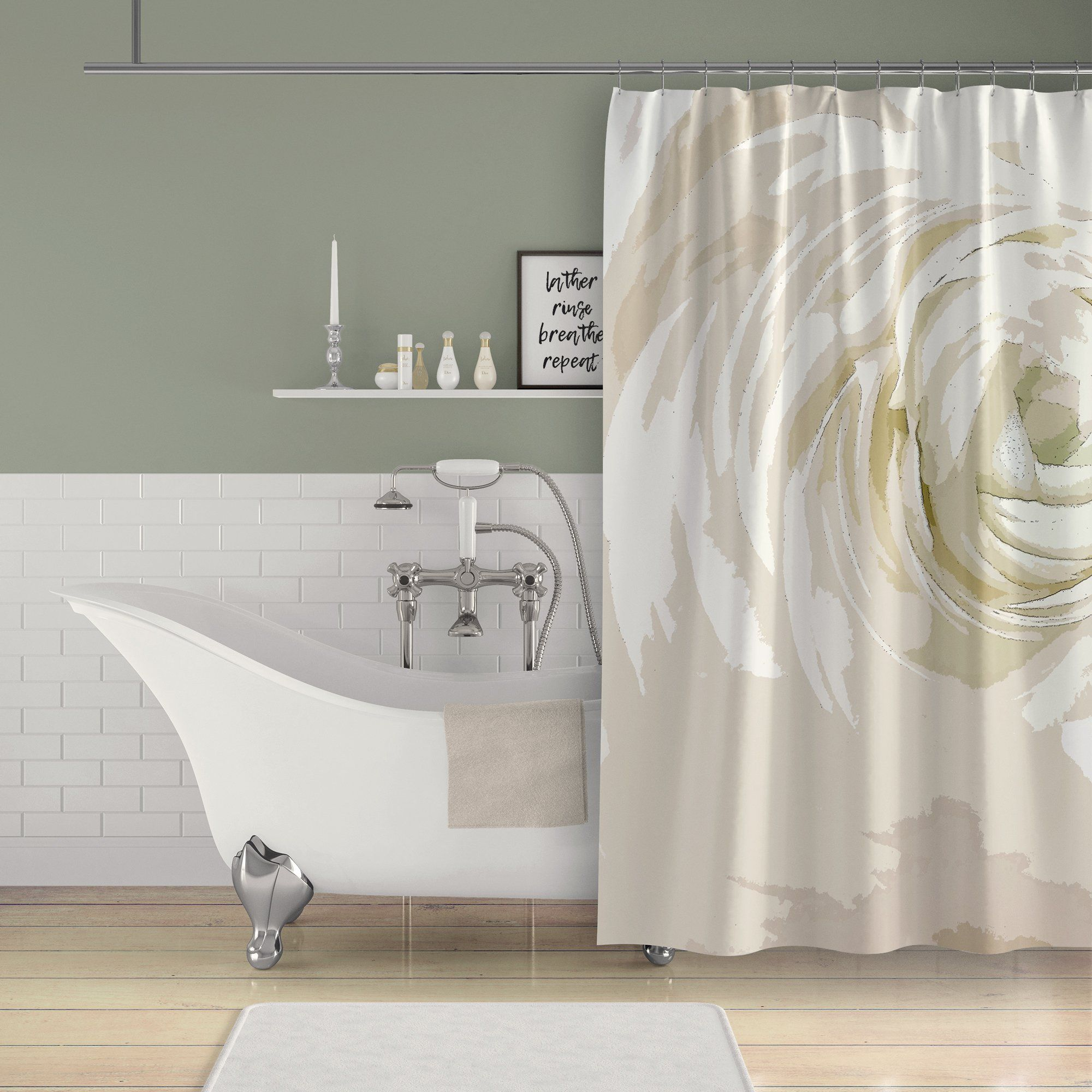 White Ranunculus Flower Art Print Shower Curtain Spa Bathroom
