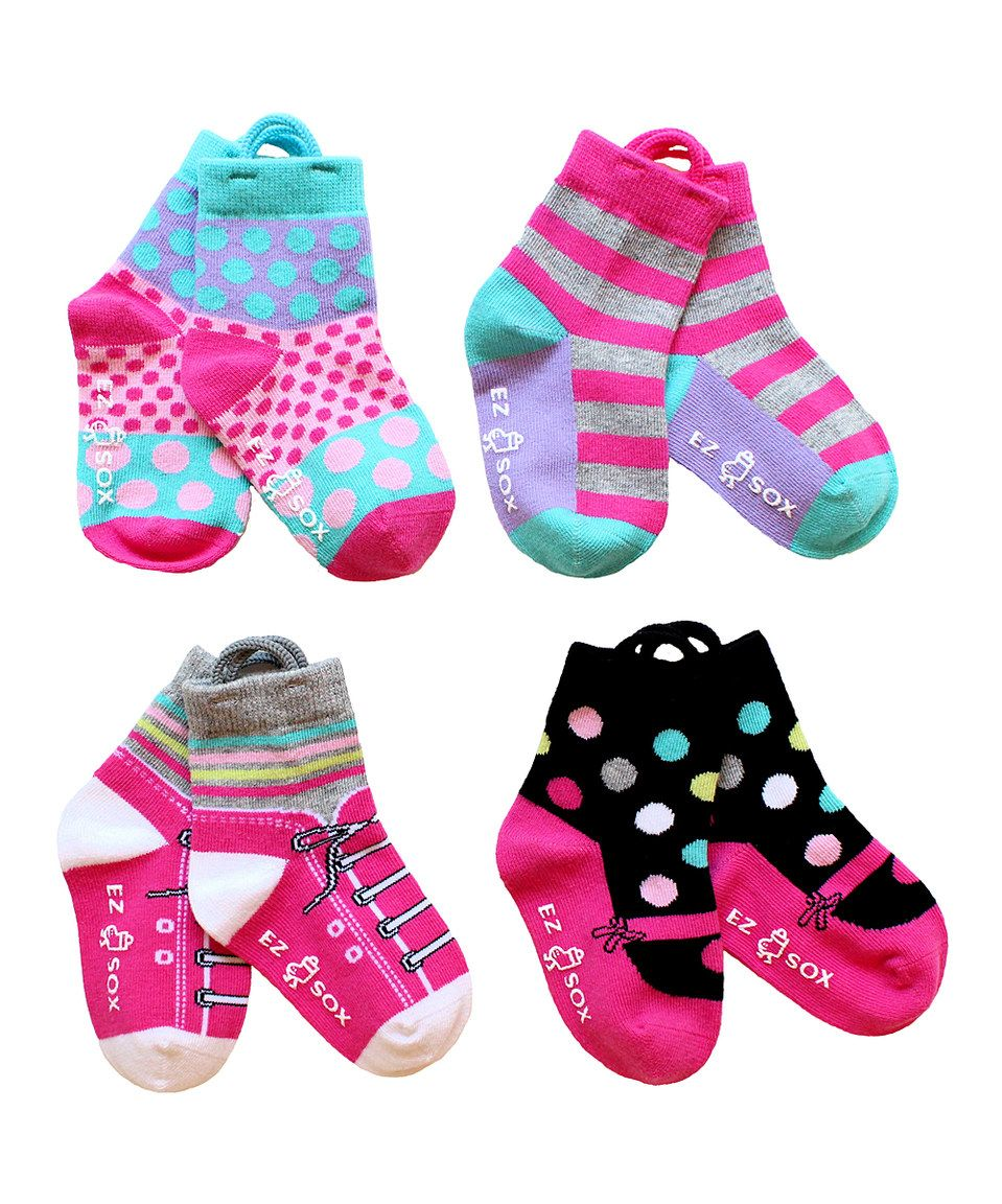 Loving this Pink Mary Jane & Sneaker Four-Pair Socks Set - Toddler & Girls on #zulily! #zulilyfinds