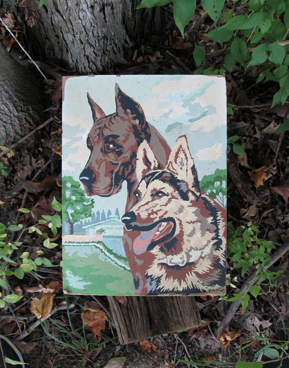 Vintage Paint By Number Dogs Great Dane And German Shepherd