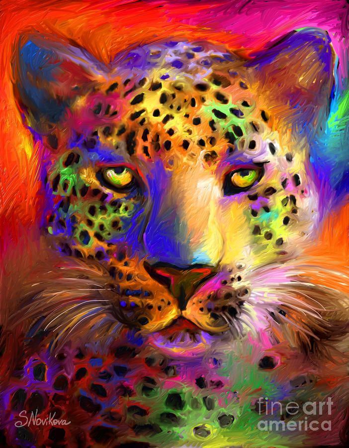 Vibrant Leopard Painting in 2019 | The Color Purple | Art, Painting