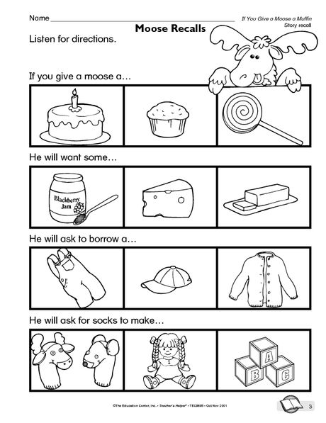 If You Give Moose A Muffin Recall Worksheet Childrens Books