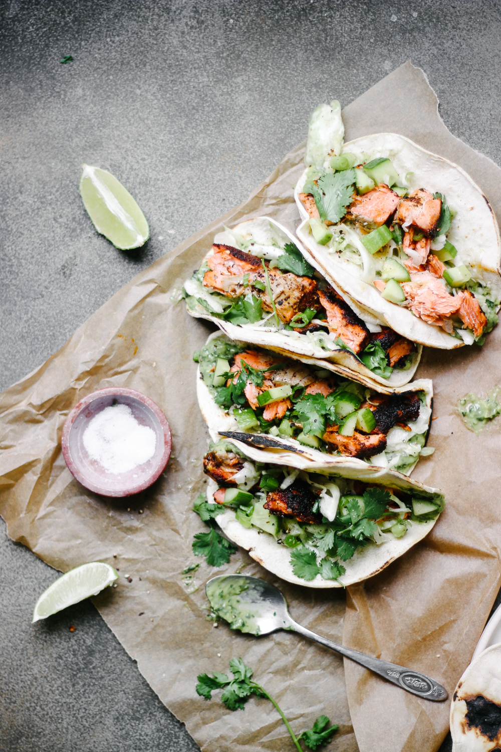 Blackened Salmon Tacos with Avocado Cilantro Sauce and Cabbage Slaw — The Feministe