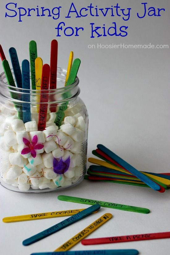 Kid's Spring Activity Jar   Instructions on HoosierHomemade.com