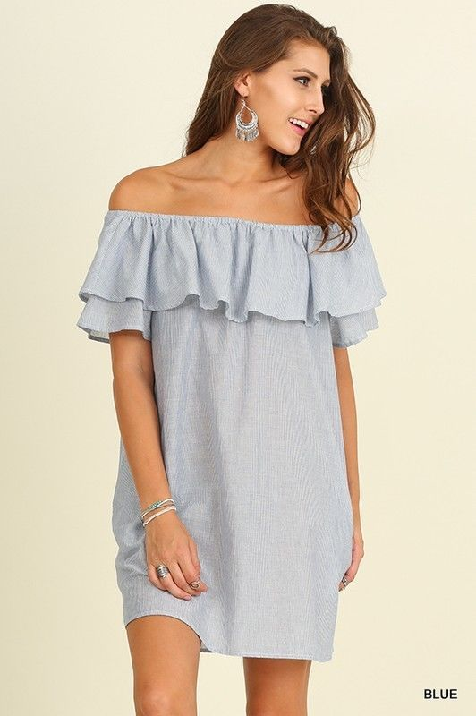 5813d87645a37 Umgee USA Women Dress Size S M L Open Off Shoulder Boho Tunic Ruffle Sleeve  BLUE  UmgeeUSA  Shift  Casual