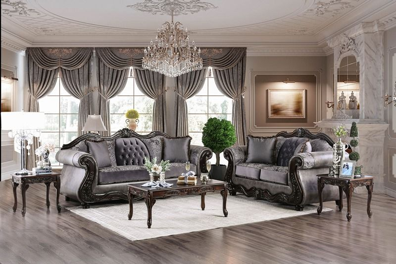 Tabatha elegant charcoal chenille/leatherette formal living room set ...