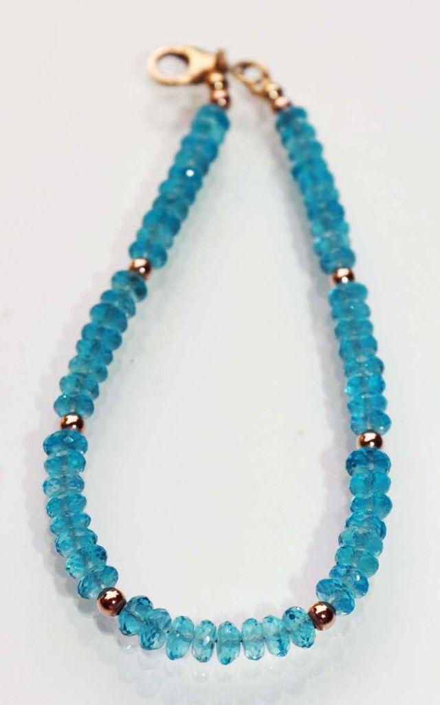 London Blue Topaz Bracelet with Rose Gold Filled Beads Wila Fine