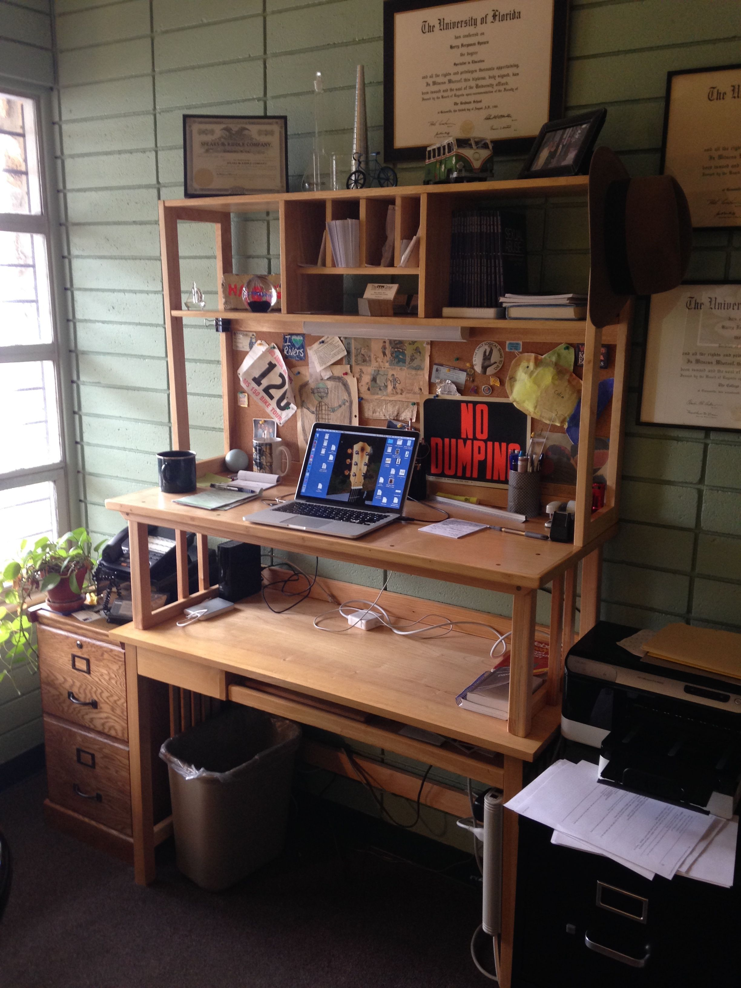 Stand Up Work Station Added To Existing Desk Cypress And Birch Plywood Workstation Birch Plywood Desk