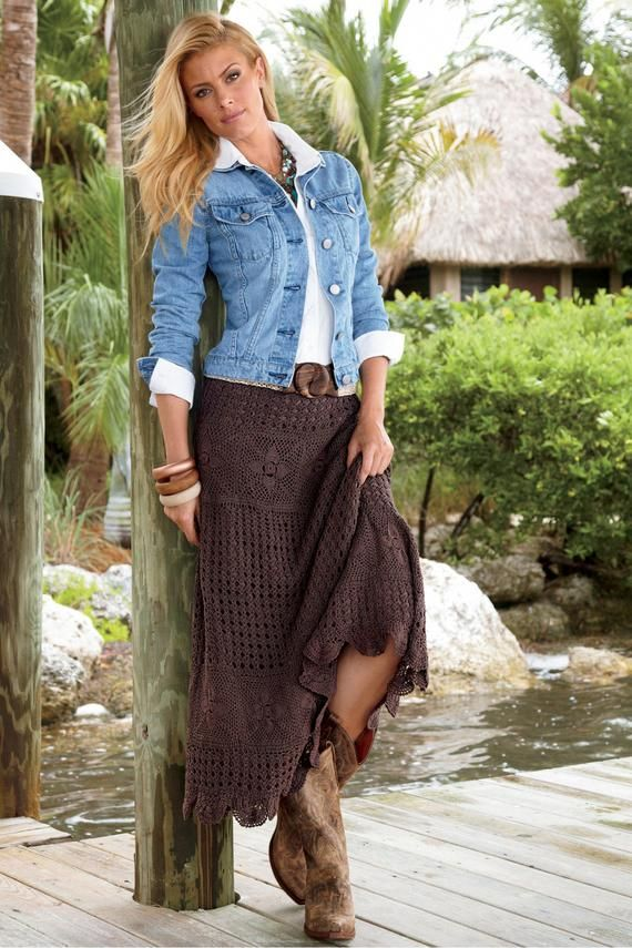 Women's Skirts, knitted from 100% cotton// Western