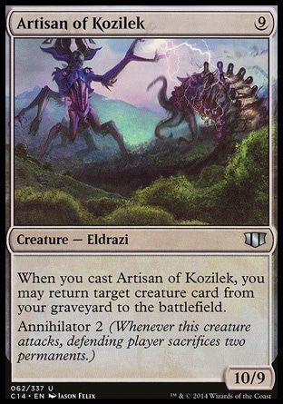 Artisan of Kozilek | Those born from the lineage of Kozilek have multiple eyes all over their body (curiously, rarely on the head) and have large, black jagged plates that float around them. They are also characterized by bisecting arms which they share with the Ulamog lineage.