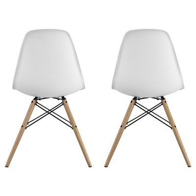 Mid Century Modern Molded Chair With Wood Leg Set Of 2 White