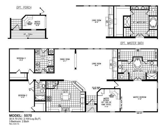 Model 5070 Oak Creek Homes Mobile Home Floor Plans Manufactured Homes Floor Plans