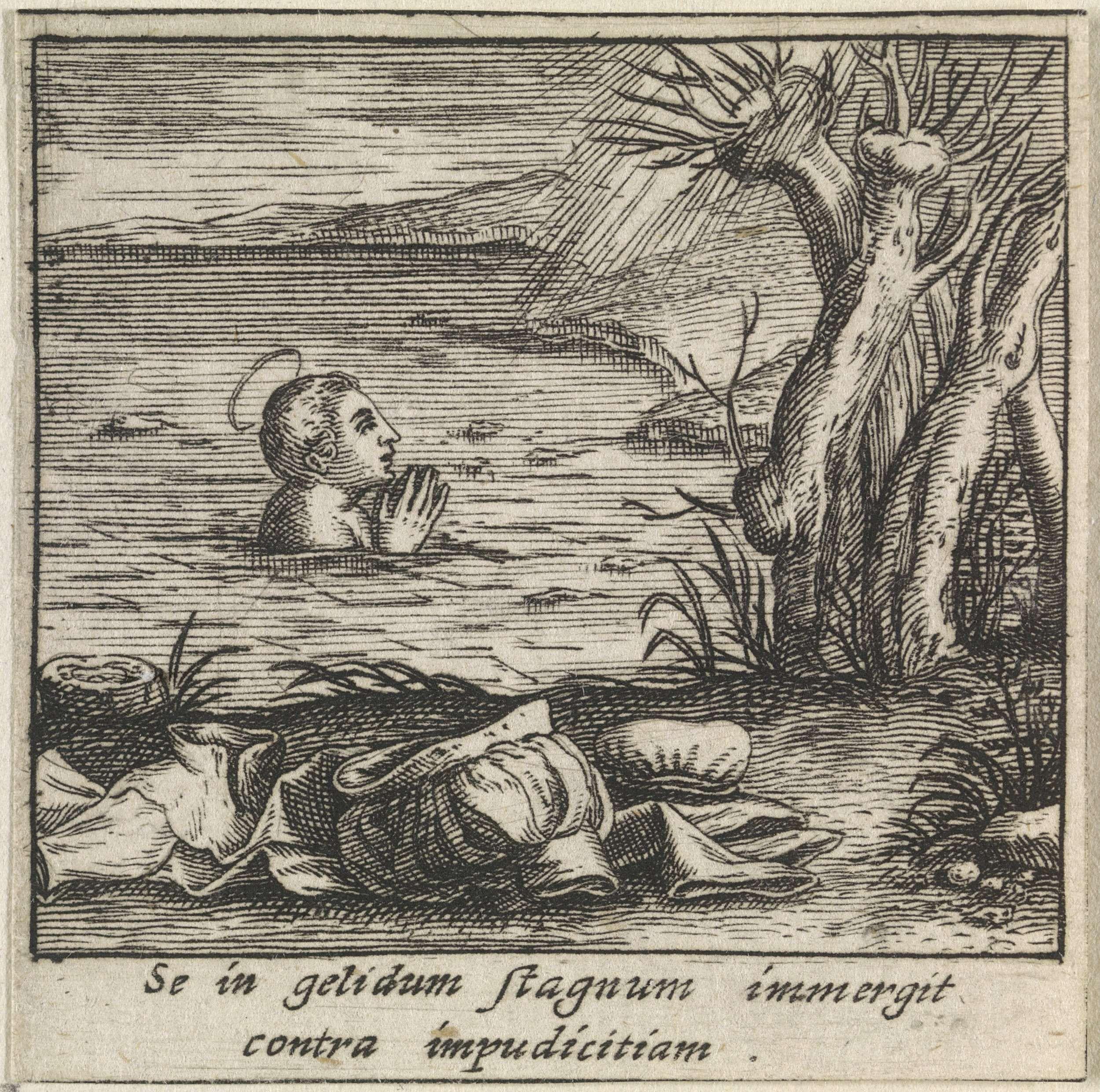 Anoniem Heilige Bernardus Van Clairvaux Bidt In Een Vijver