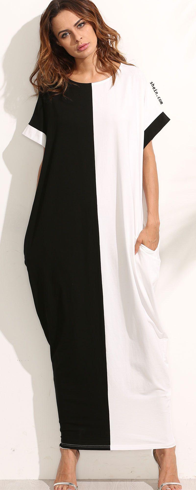 Contrast Longline Kaftan Dress. Two colors available.