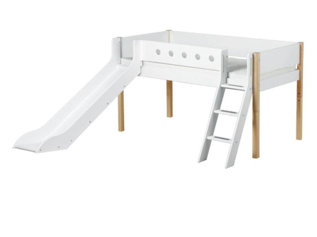 Flexa Etagenbett Aufbauanleitung : Flexa white halbhochbett weiß natur schräge leiter und rutsche