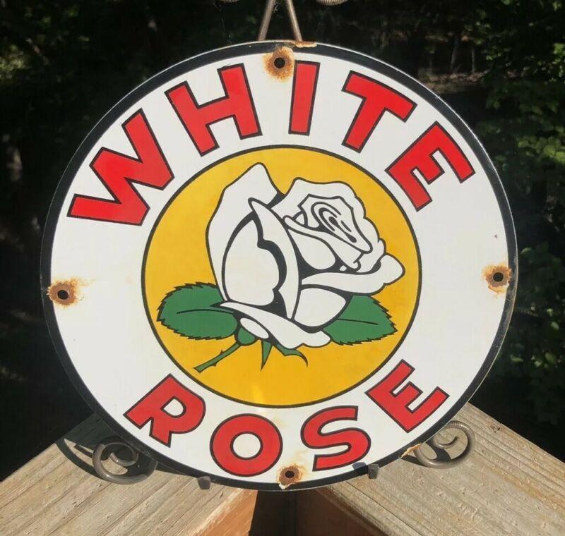 "WHITE ROSE  Oil//Gas Round Porcelain Advertising sign....~12/"""