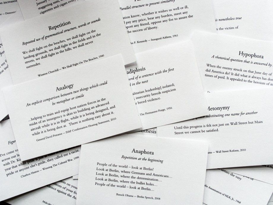 007 A series of index cards covering rhetorical devices used